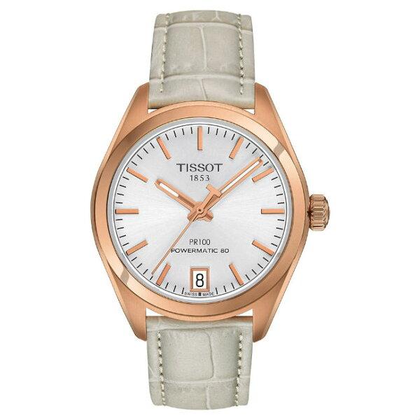 TISSOT天梭T1012073603100PR100Powermatic80經典機械腕錶-白33mm
