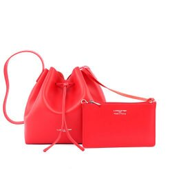 【LANCASTER】質感平紋牛皮側背水桶包(小)(紅色) 423-10 ROUGE