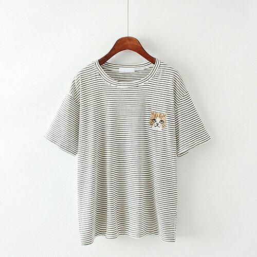 卡通貓咪刺繡條紋棉質圓領短袖T恤(4色F碼)【OREAD】 2
