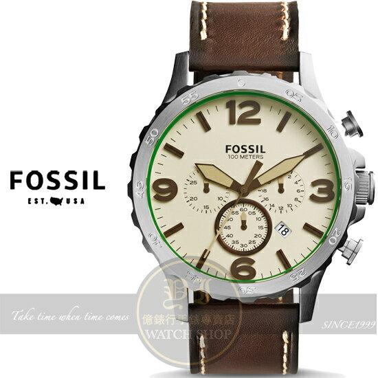 FOSSIL美國品牌Nate創世紀戰神三眼計時皮帶腕錶-米白x咖啡/50mm JR1496公司貨/禮物/型男必備