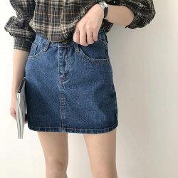 【她時代Sstyle】學院風水洗A字牛仔短裙(深藍/淺藍)
