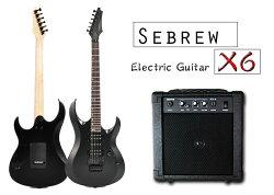 Sebrew X6 電吉他+15W音箱,贈厚棉琴袋+全配。雙單雙拾音器+小搖座+霧面質感,電吉他、吉他