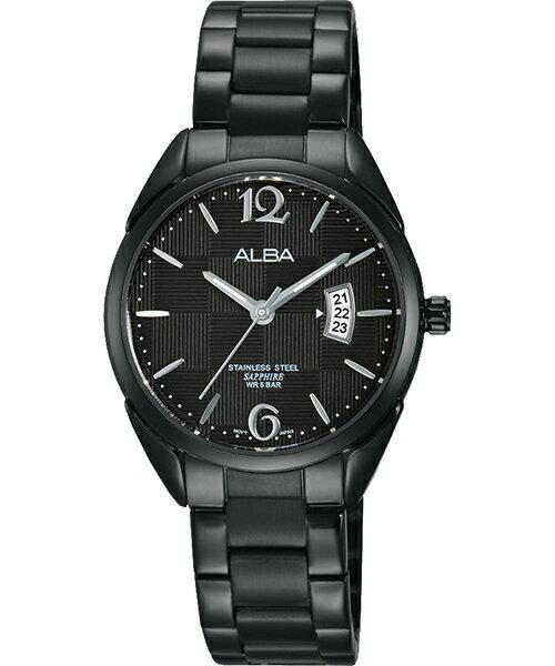 ALBA VJ22-X215SD(AH7J21X1)方格時尚腕錶/黑面28mm