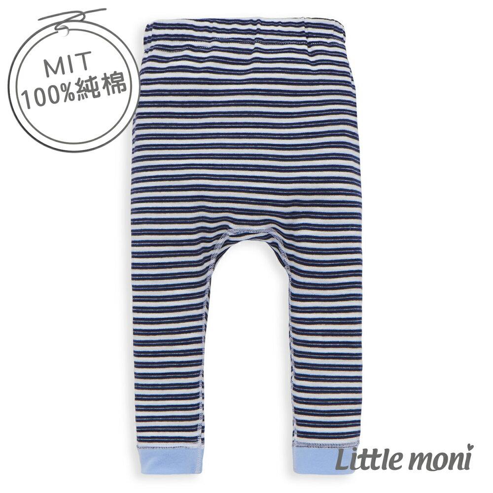 Little moni 純棉家居系列條紋幼兒睡褲~深藍