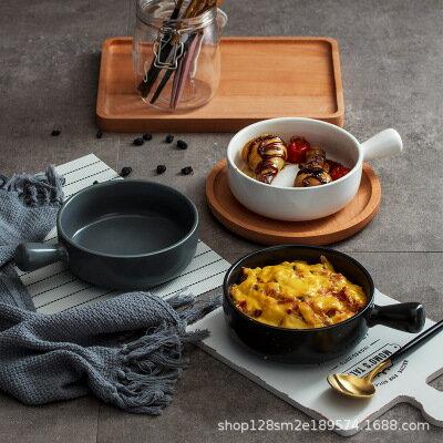 美琪 北歐現代風帶柄烘焙烤碗盤子簡約家用餐具碗
