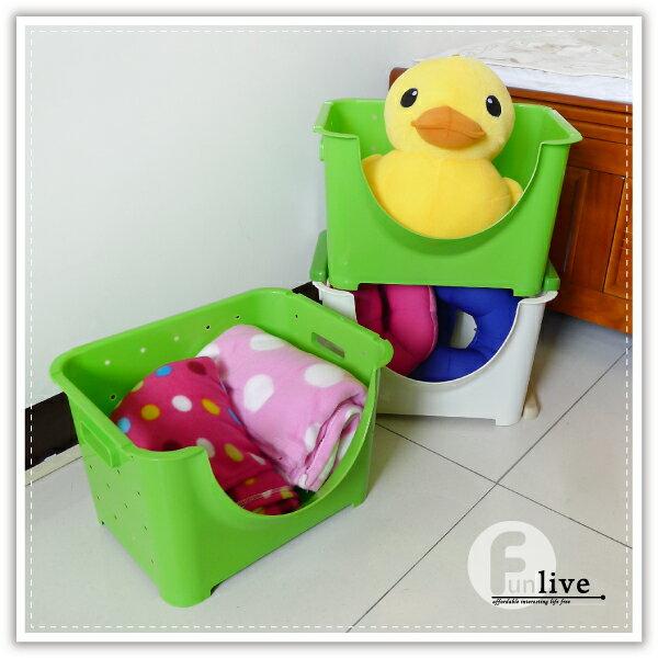【aife life】可疊萬用寬收納箱 / 置物籃 / 開放式收納盒 / 可堆疊收納箱 / 雜物收納盒 / 萬用收納 / 衣物收納箱 0