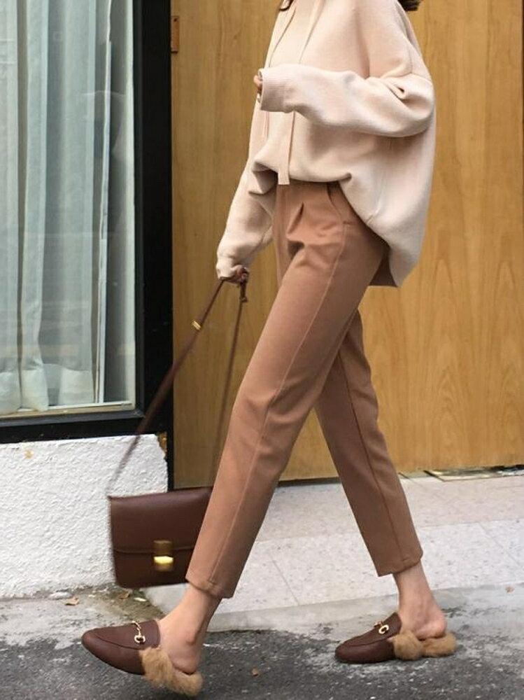 毛呢哈倫褲女直筒西裝褲百搭煙管褲寬鬆小腳蘿卜褲休閒長褲子 錢夫人小鋪