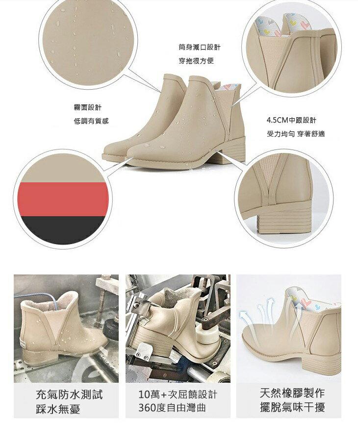 LINAGI里奈子【S692189】韓國代購短筒橡膠雨鞋女成人啞光歐美防滑切爾西雨靴 7