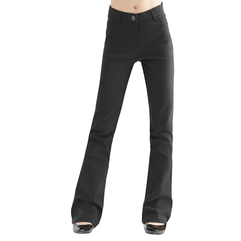 西裝褲--修長OL-超彈性中腰素面微喇叭基本款氣質長褲(黑.灰.咖S-7L)-P17眼圈熊中大尺碼 1