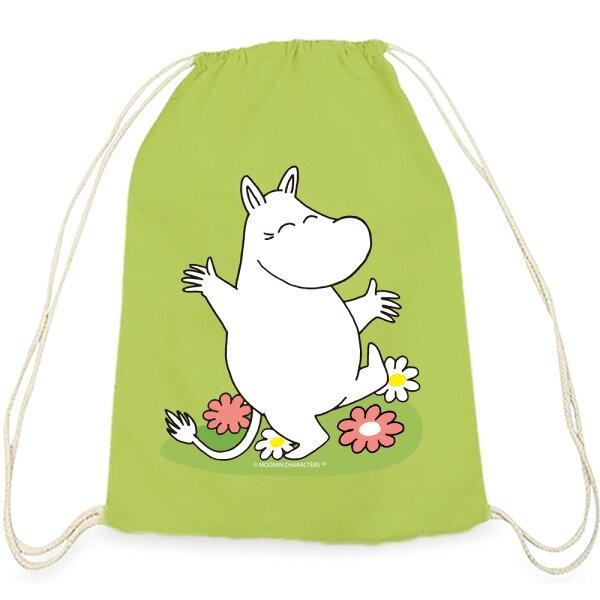【嚕嚕米Moomin】彩色束口後背包-花漾嚕嚕米(果綠)