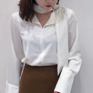 美麗大街【KA68】 2017春季新品韓版chic風寬鬆純色圓環扣繫帶V領開叉長袖襯衫女