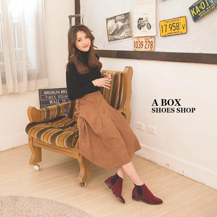 【AA3779】MIT台灣製 百搭時尚單品 質感素面絨布 鬆緊帶粗低跟馬丁靴 短靴 短筒靴 3色 1