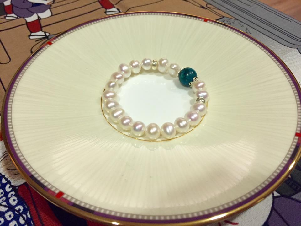 湖水 花藍寶綴珍珠典雅古董手鍊