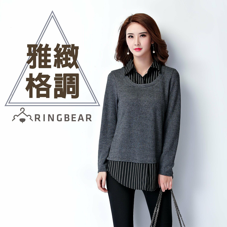 假二件式--知性氣質優雅條紋襯衫領圓弧下襬假兩件針織上衣(黑XL-3L)-I88眼圈熊中大尺碼 0