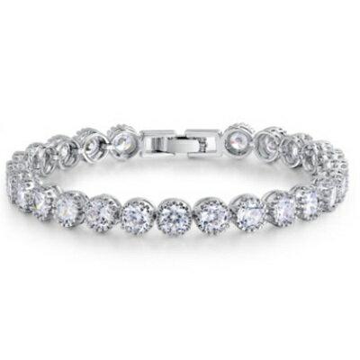 純銀手鍊 鍍白金鑲鑽手環 ~ 亮眼 生日情人節 女飾品73cv16~ ~~米蘭 ~