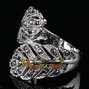 復古銀飾品可愛個性鑲鑽樹葉戒指 潮人食指環女友禮物