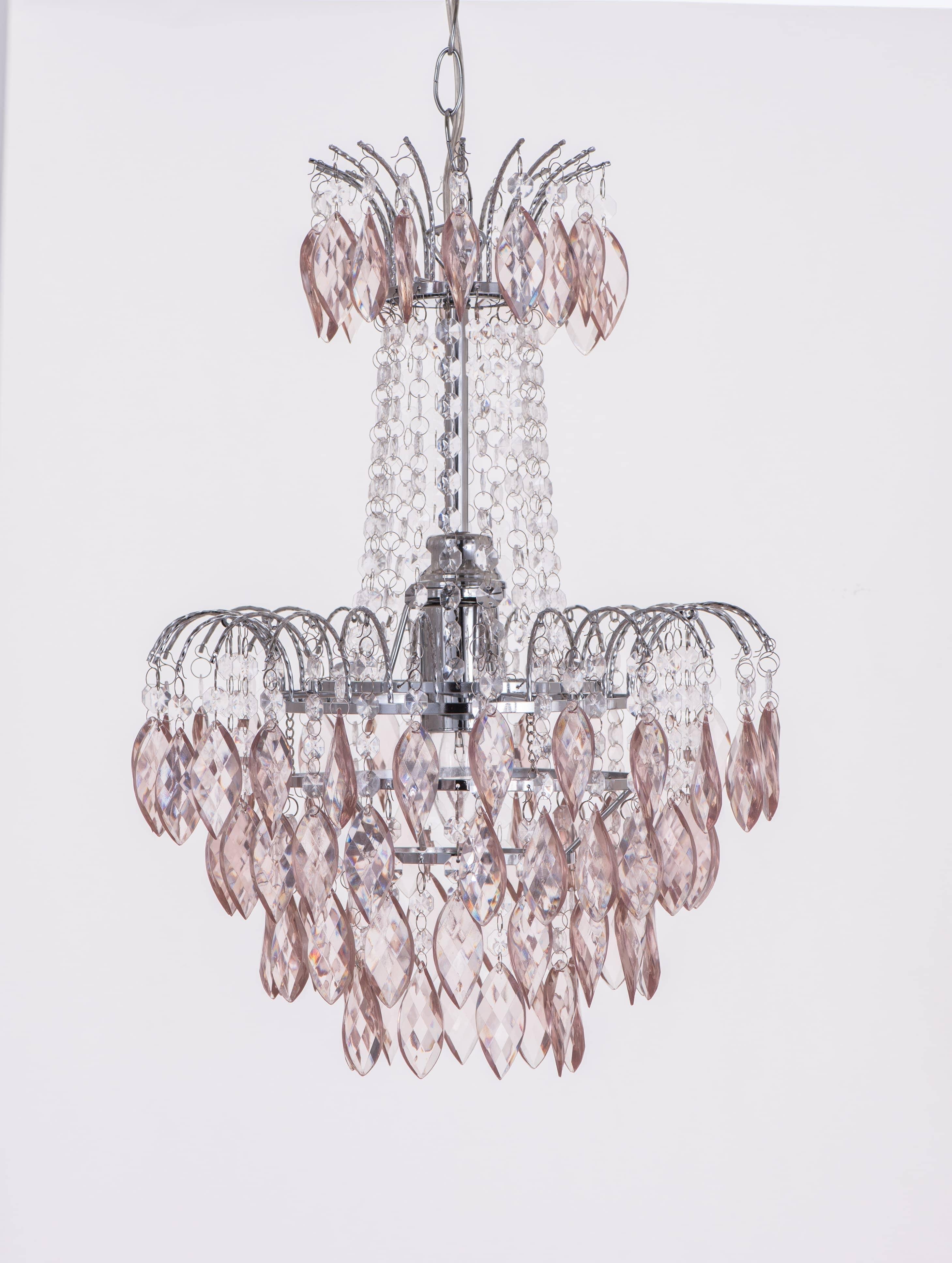 紅香檳色八角壓克力珠鍍鉻吊燈-BNL00060 0