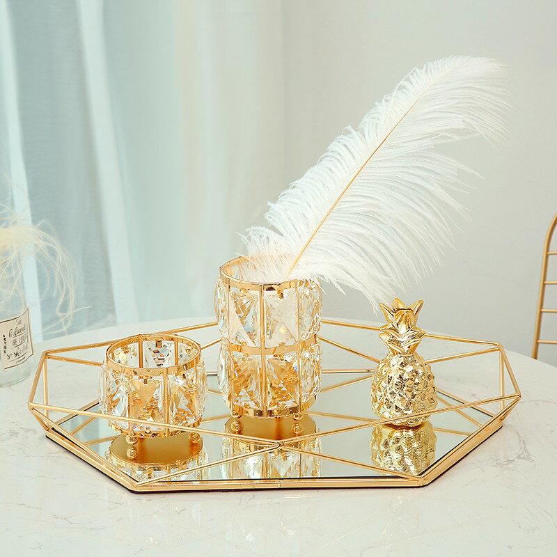 歐式玻璃復古首飾展示盤創意現代北歐臥室美式托盤收納盤裝飾擺件 露露生活館
