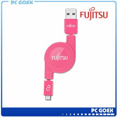 FUJITSU富士通MICRO USB收捲式傳輸充電線(粉紅)