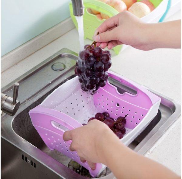 創意摺疊蔬果籃 秒收洗菜瀝水籃 水果籃 廚房用品(顏色隨機出貨) H10301【H00610】