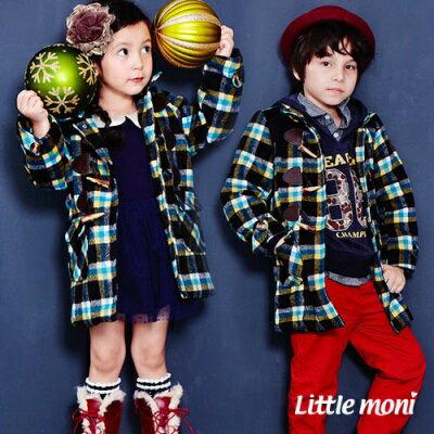 Little moni 格紋牛角扣羊毛長版大衣