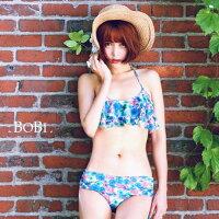 比基尼/泳裝/泳衣到細肩帶比基尼 碎花印花荷葉邊繞頸兩件式泳裝泳衣【SF1627】 BOBI  06/08