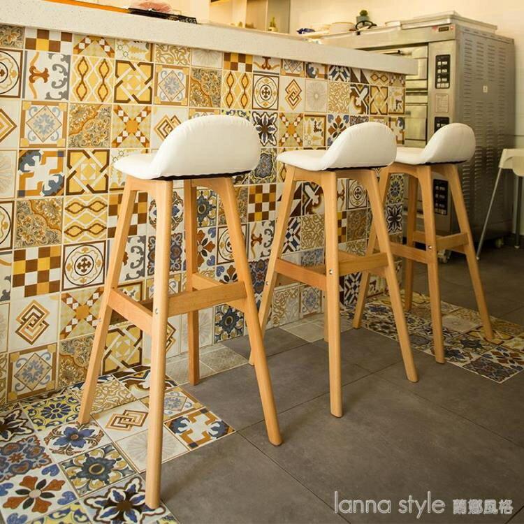 北歐實木吧台椅現代簡約高腳凳酒吧椅子吧凳靠背咖啡廳奶茶店創意 YDL