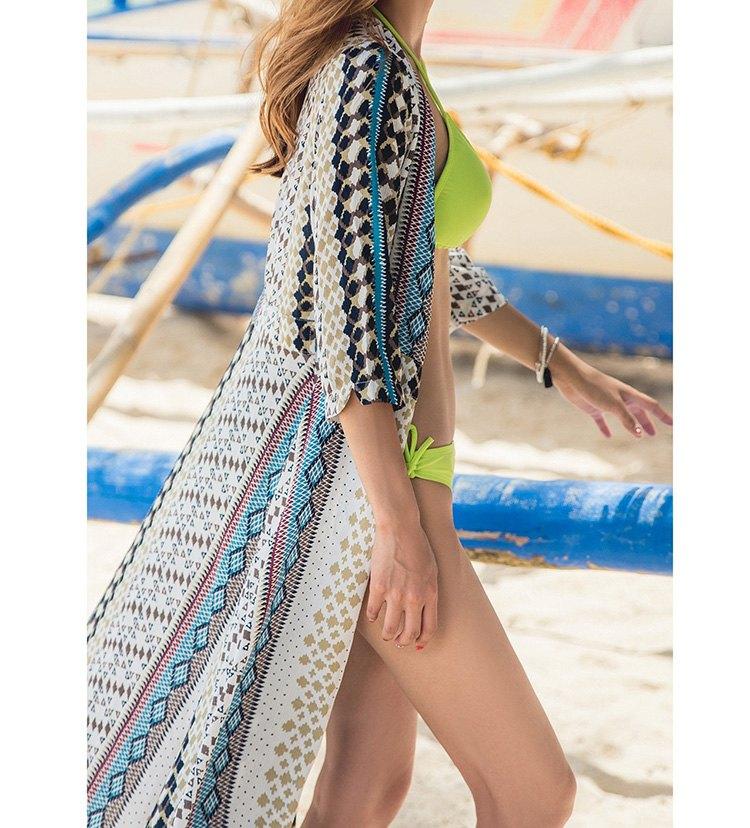 罩衫 印花 綁帶 開襟 外套 開衩 長款 沙灘 比基尼 罩衫【ZS361】 BOBI  04 / 26 4