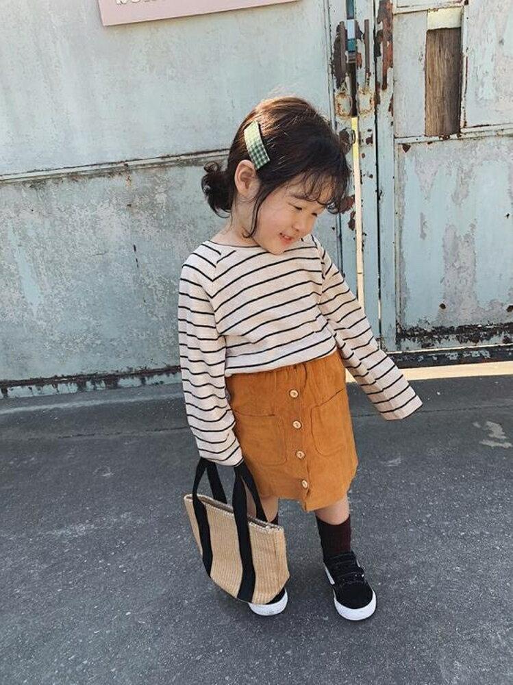 女童短裙 女童半身裙2020兒童新款純色小孩 兒童短裙小女孩豎條紋裙子【全館82折】