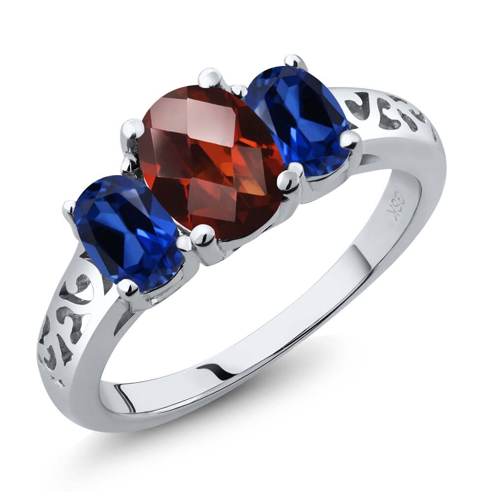 2.40 Ct Oval Checkerboard Red Garnet Blue Simulated Sapphire 925 Silver 3-Stone Ring 0