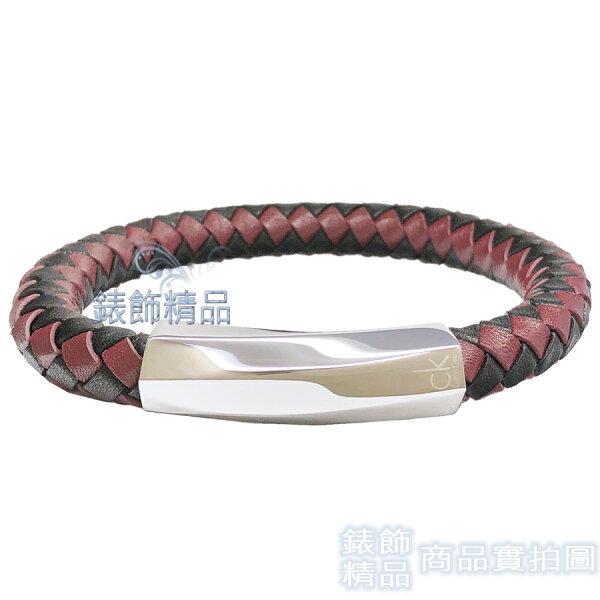【錶飾精品】CK飾品KJ2BBB0903迷惘系列-皮繩編織咖啡+黑色男性手環316L白鋼全新原廠正品