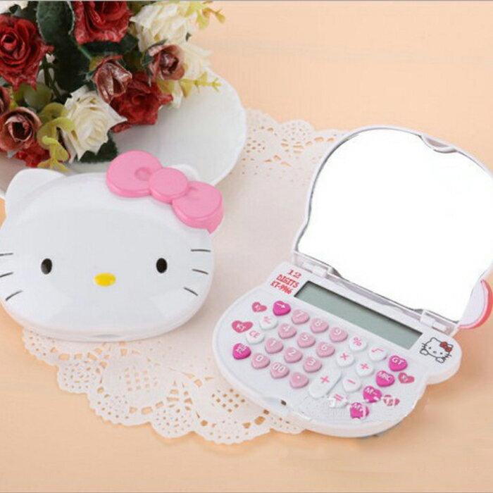 糖衣子輕鬆購【DZ0035】Hello Kitty卡通計算機 凱蒂猫卡通造型頭化妝鏡計算機