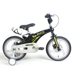 寶貝樂嚴選 16吋超輕量鎂合金前後碟煞腳踏車(打氣胎)-黑(BTSX1630BK)