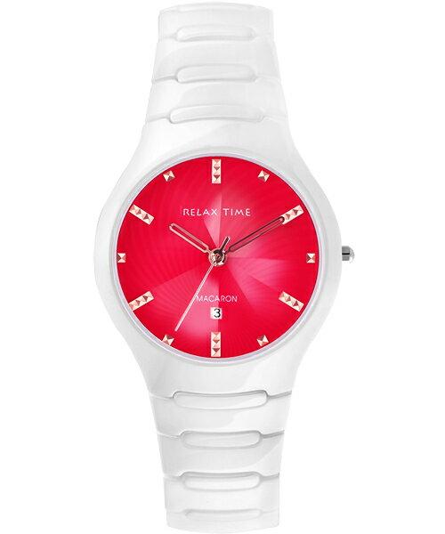 Relax Time RT-26-17馬卡龍系白紅陶瓷腕錶/紅面36.6mm