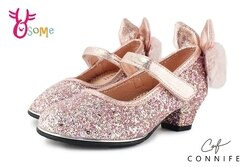 CONNIFE專櫃 毛茸雪兔 中童低跟娃娃鞋 花童舞台表演鞋 C2452#粉 ◆OSOME奧森鞋業