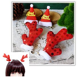 【aife life】立體聖誕造型髮夾-一對/耶誕/麋鹿角/賣萌 小草髮夾/聖誕佈置/聖誕樹/聖誕燈/聖誕帽/聖誕裝/聖誕禮物