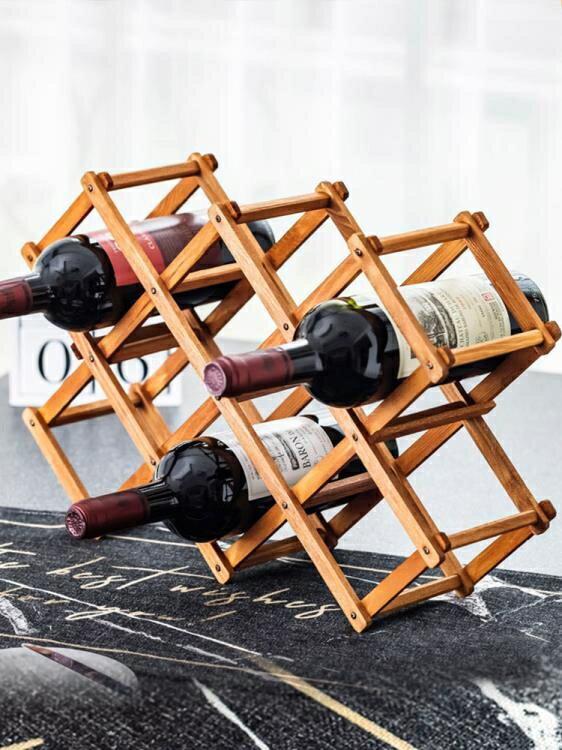 [快速出貨] 紅酒架擺件創意葡萄酒櫃架實木展示架家用酒瓶架客廳酒架子裝飾品   七色堇 元旦 交換禮物