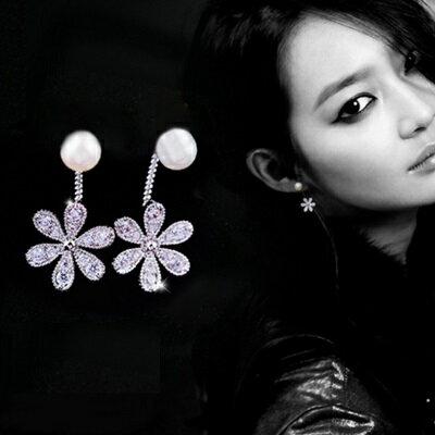~925純銀耳環鑲鑽耳飾~ 甜美可愛花朵情人節生日 女飾品73du9~ ~~米蘭 ~