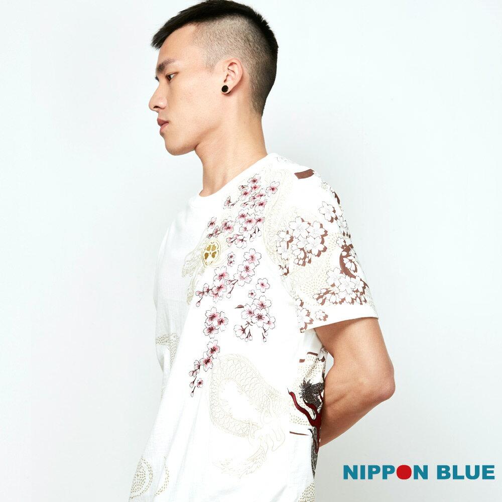 【春夏新品】金標蒼龍櫻花精繡短TEE(白) - BLUE WAY  NIPPON BLUE日本藍 1