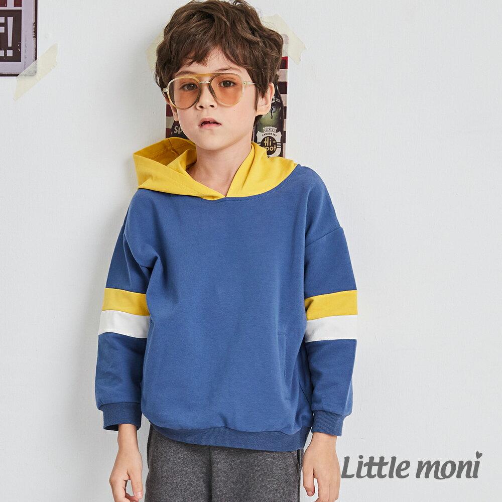 Little moni 連帽拼接上衣-深天藍(好窩生活節) 1