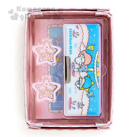 〔小禮堂〕雙子星 盒裝迷你文具組《粉格紋.雲.小精靈》超值4件組合