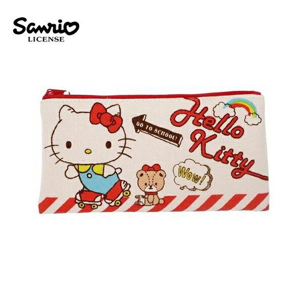 【 】凱蒂貓 帆布 扁筆袋 M號 鉛筆盒 筆袋 收納包 Hello Kitty 三麗鷗 Sanrio - 465773