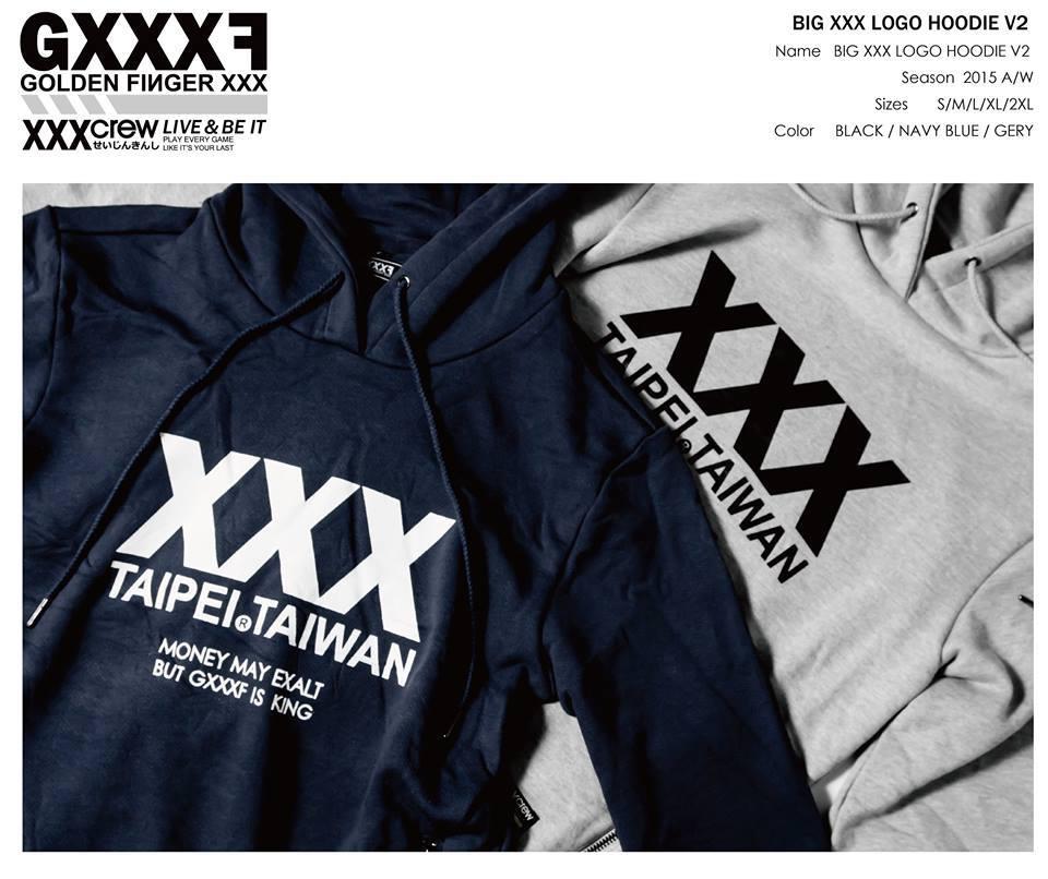 GXXXF 2015 XXX 大LOGO 側暗袋帽TEE 深藍 限量款