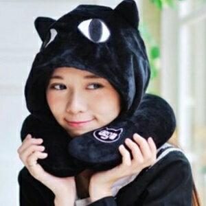 美麗大街【106010822】黑貓咪 造型連帽U型靠枕 頸枕 辦公室小物