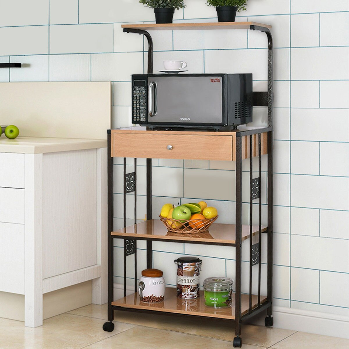 Costway 59u0027u0027 Bakers Rack Microwave Stand Rolling Kitchen Storage Cart  W/Electric Outlet