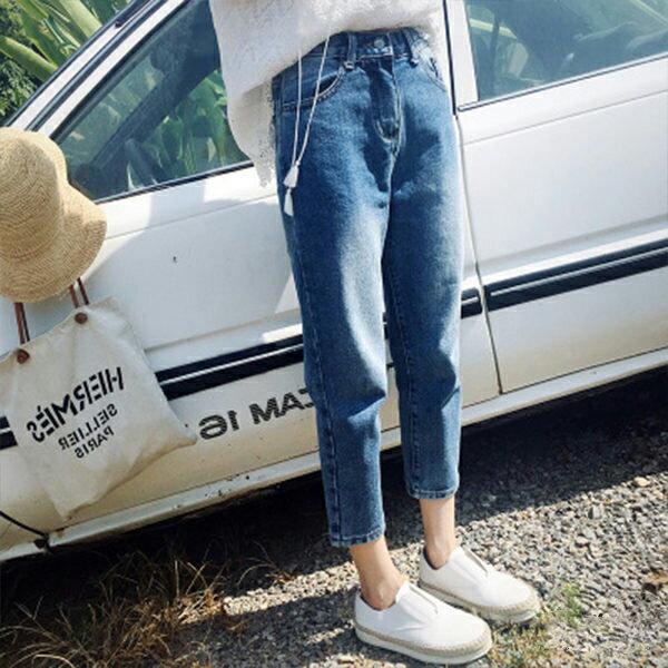 PS Mall 春季新款 百搭刷舊寬鬆高腰八分牛仔褲 【T002】