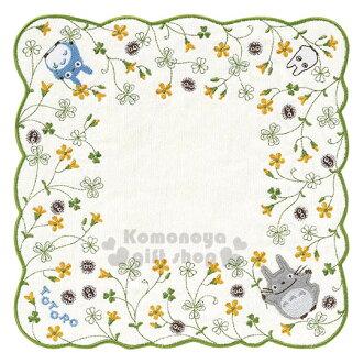 〔小禮堂〕宮崎駿 Totoro 龍貓 圓角小方巾《白.造型綠邊.朋友.花.25x25cm》純棉舒適