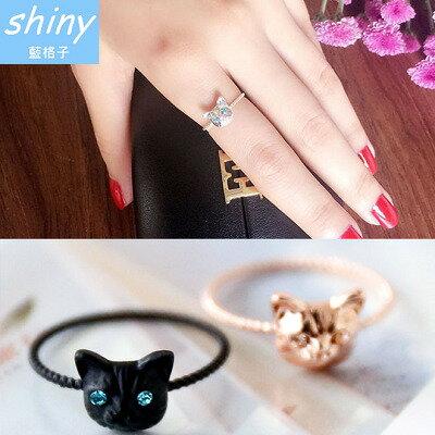 【30A38】shiny藍格子-可愛俏麗.可愛逼真小貓咪鑲鑽食指尾戒【0320-25全店滿799現折150 代碼SpringSale 】