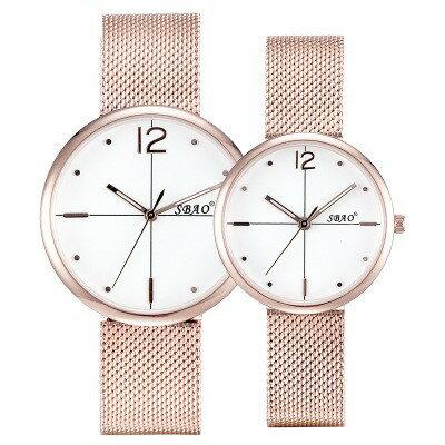 美琪 (簡約時尚)超薄추세潮流石英錶커플 모델情侶款休閒網織帶防水手錶