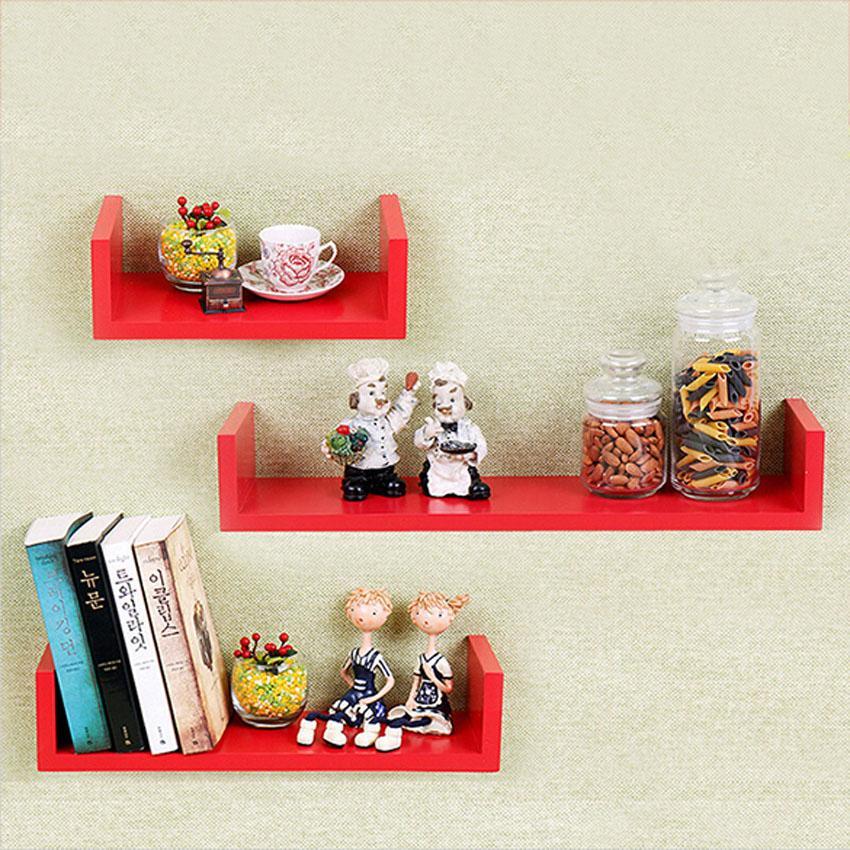 Set of 3 U Shape Floating Wall Shelves Storage Display Shelf Black/White/Red 1